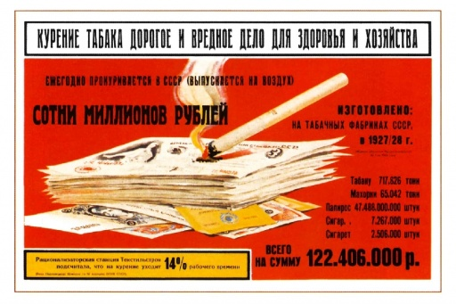 Smoking tobacco is expensive for (your) health and household. 1930