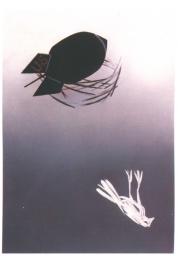 A bomb takes over  a bird house.