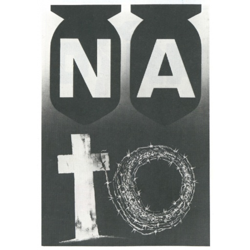 NATO bombs, cross, barbed wire.